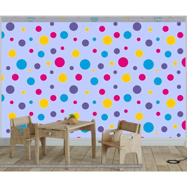 Ταπετσαρία τοίχου Polka dot (blue), μοτίβο