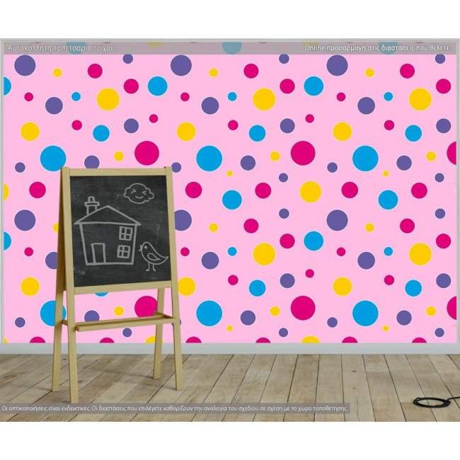 Ταπετσαρία τοίχου Polka dot (roz), μοτίβο
