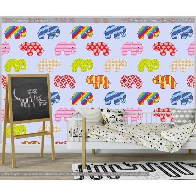 Ταπετσαρία τοίχου Colorful elephants (blue), μοτίβο