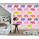 Ταπετσαρία τοίχου Colorful elephants (pink), μοτίβο