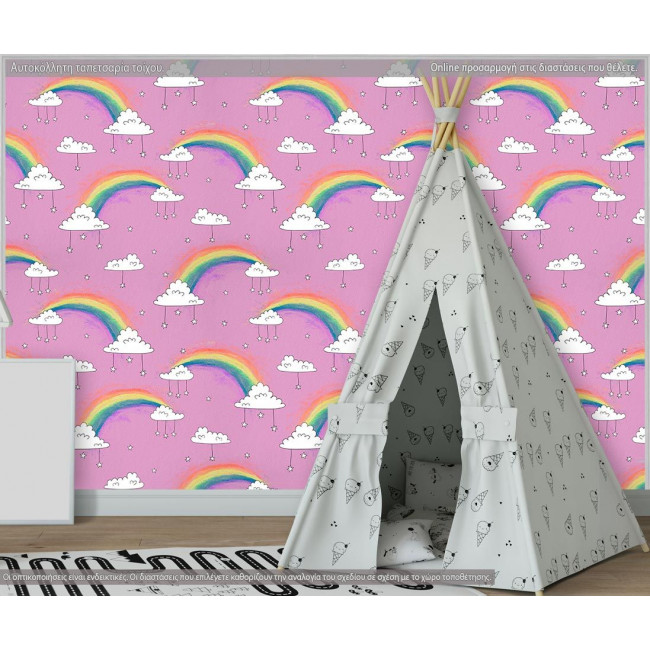 Ταπετσαρία τοίχου Rainbows and clouds (roz), μοτίβο