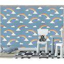 Ταπετσαρία τοίχου Rainbows and clouds (blue), μοτίβο