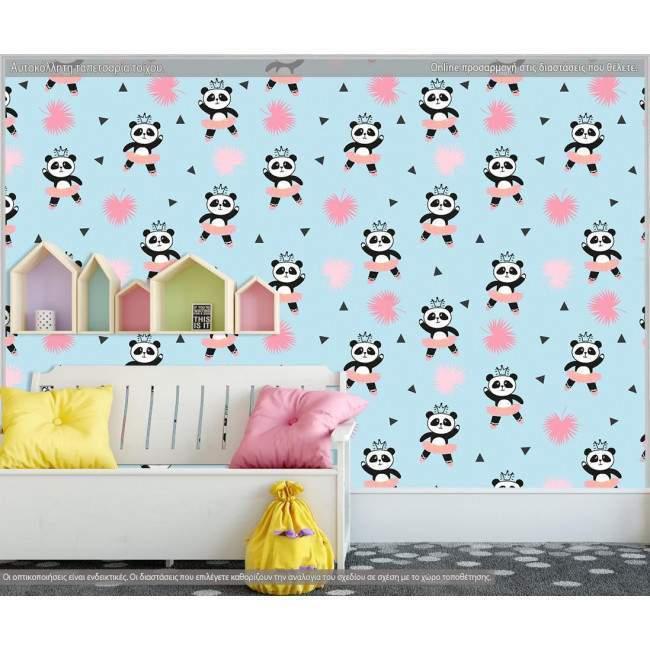 Ταπετσαρία τοίχου Cute panda ballerinas, μοτίβο
