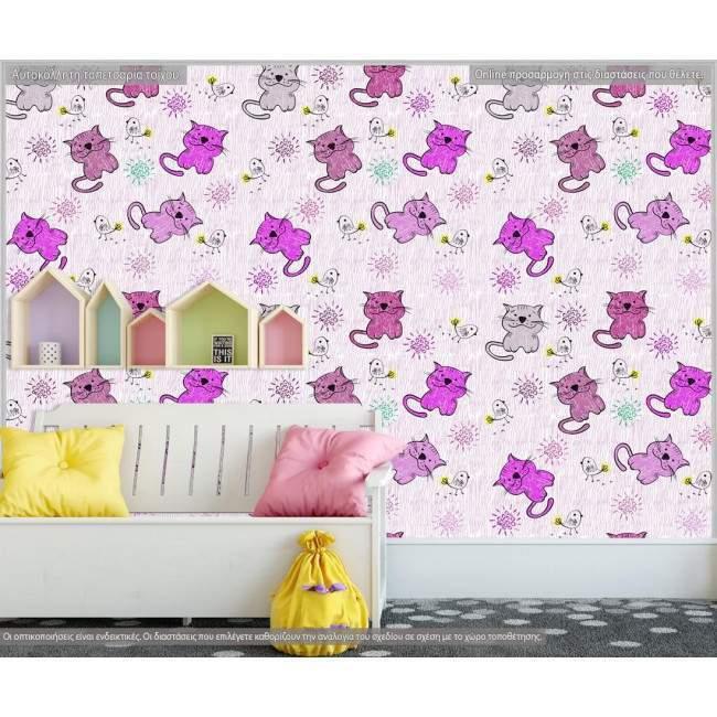 Ταπετσαρία τοίχου Hand drawn cats (girl), μοτίβο