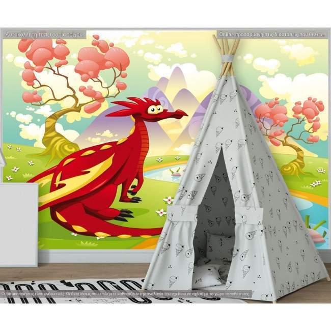 Ταπετσαρία τοίχου Red dragon