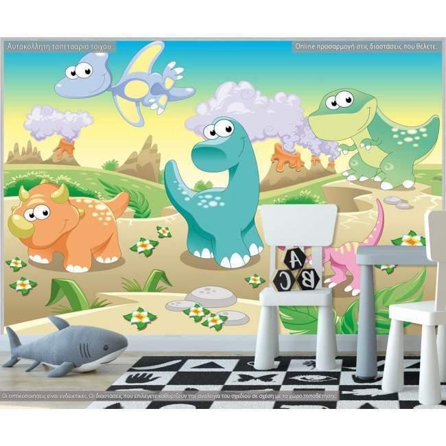 Ταπετσαρία τοίχου Cute dinosaurs