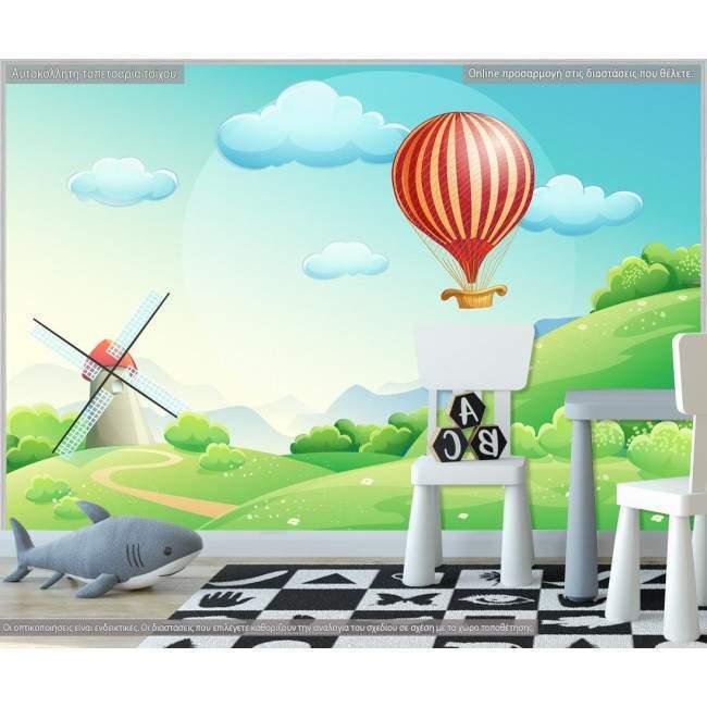 Ταπετσαρία τοίχου Air balloon at countryside