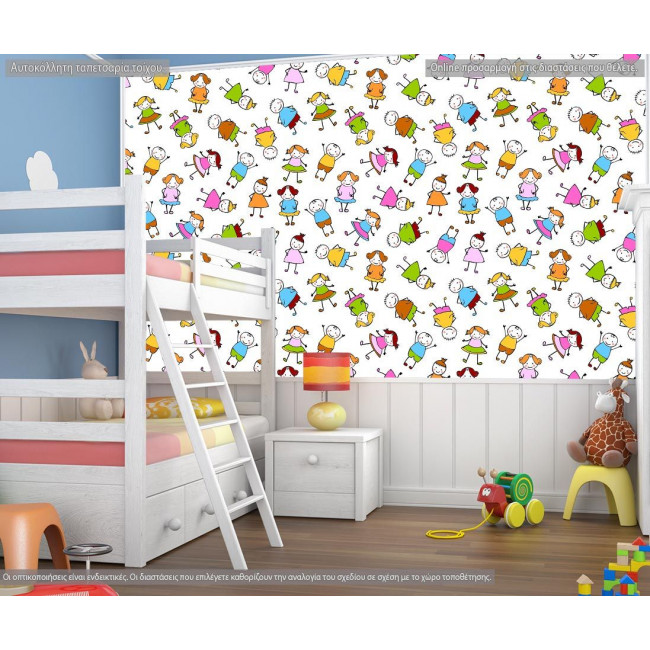 Wallpaper Colorfull children, with pattern
