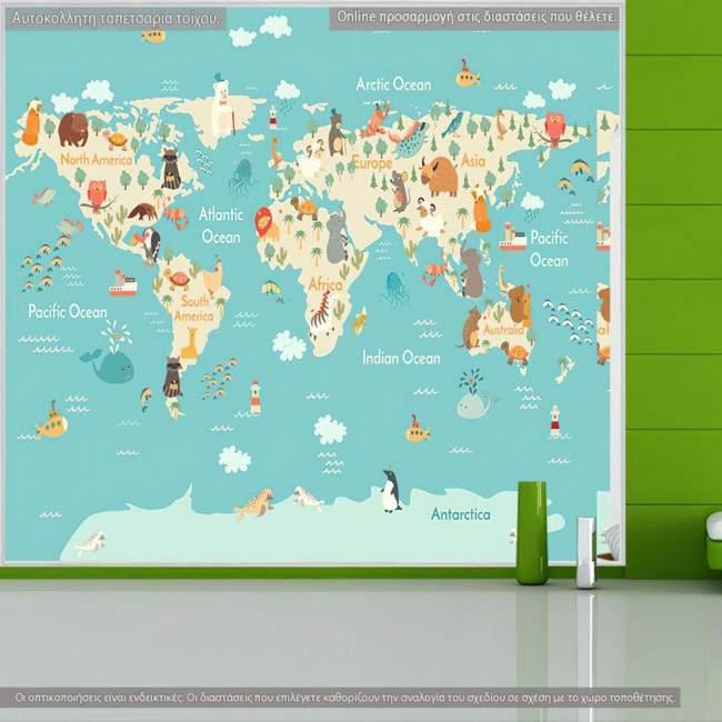 Ταπετσαρία τοίχου Χάρτης με ζωάκια κάθε ηπείρου, τετράγωνος