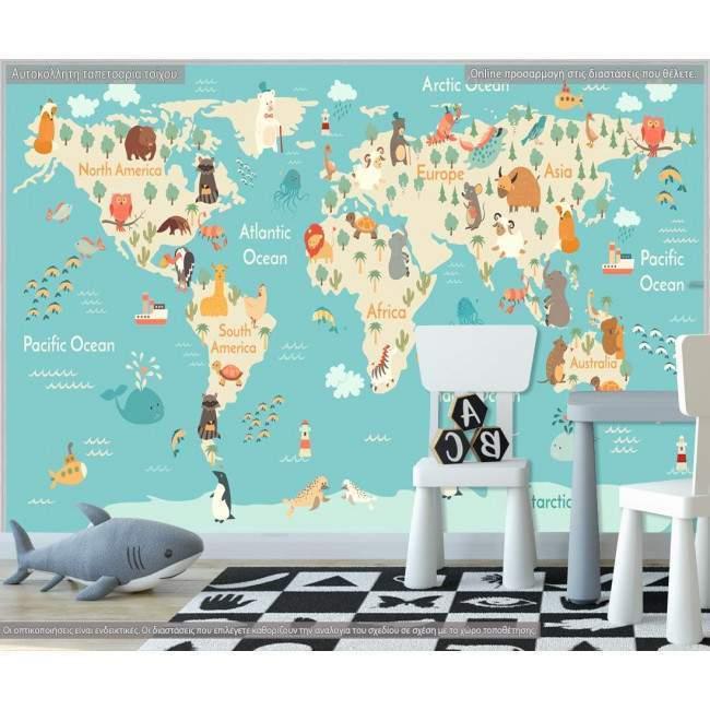Ταπετσαρία τοίχου Χάρτης με ζωάκια κάθε ηπείρου