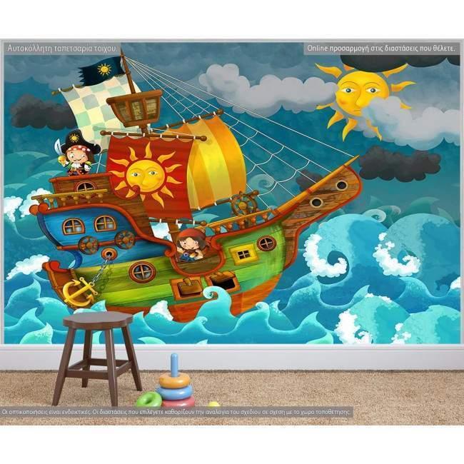 Ταπετσαρία τοίχου Μικροί πειρατές
