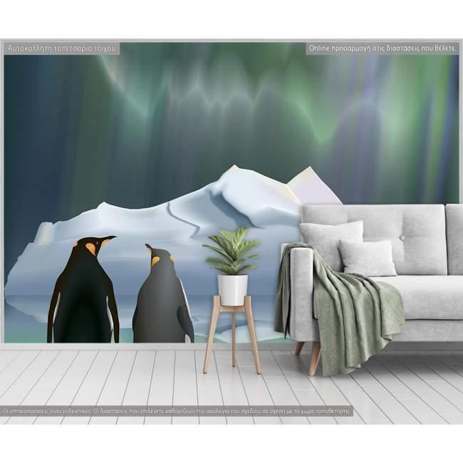 Ταπετσαρία τοίχου Πιγκουίνοι στη σειρά
