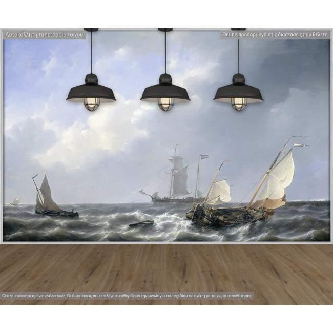 Ταπετσαρία τοίχου Seascape from the Zeeland waters by P. J. Schotel