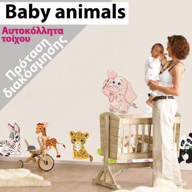 Αυτοκόλλητο τοίχου πάντα ζέβρα, λεοπάρδαλη, ελέφαντας και καμηλοπάρδαλη. Baby animals