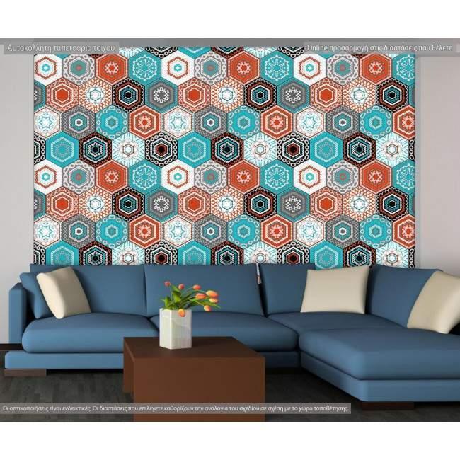 Ταπετσαρία τοίχου Hexagon pattern, μοτίβο