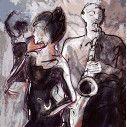 Jazz band with dancer, φωτογραφική ταπετσαρία