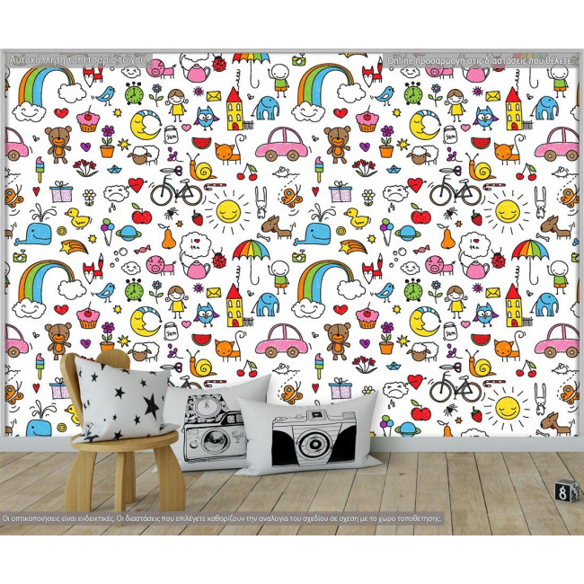 Ταπετσαρία τοίχου Kids doodle, μοτίβο