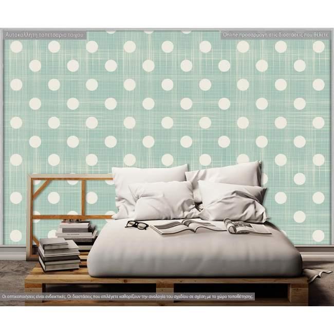 Ταπετσαρία τοίχου Πράσινο ύφασμα με κύκλους, μοτίβο