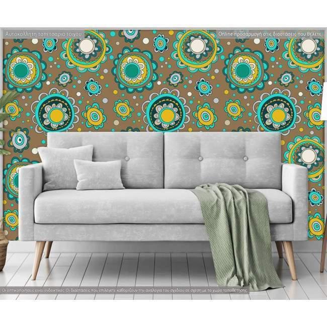Ταπετσαρία τοίχου Flower circles, μοτίβο