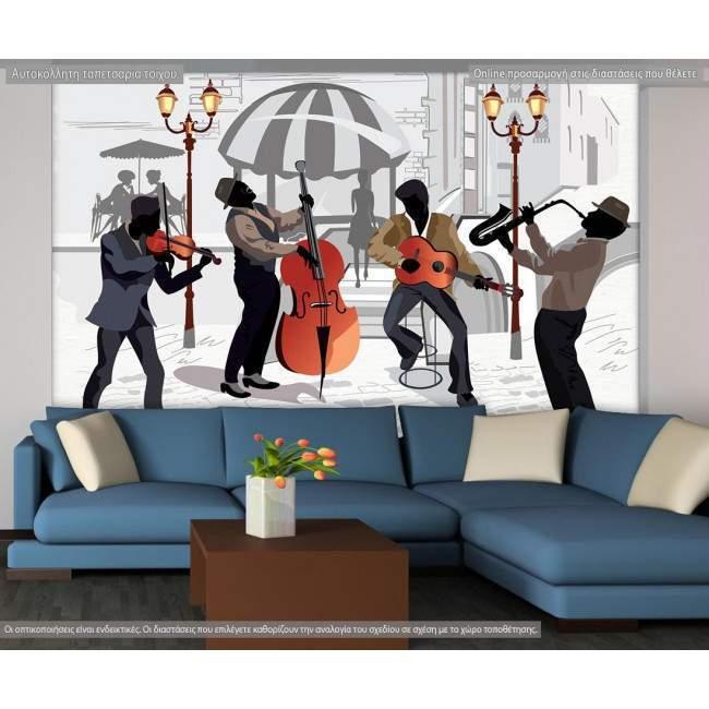 Ταπετσαρία τοίχου Street cafe with musicians