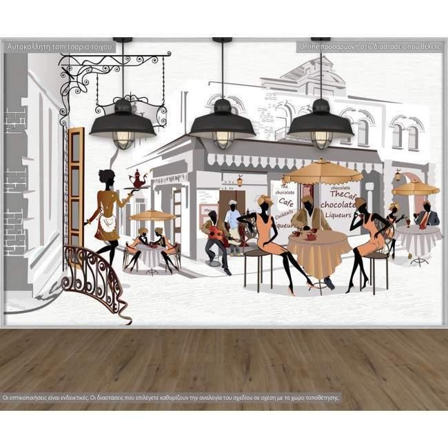 Ταπετσαρία τοίχου Street cafes