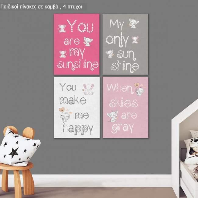 Πίνακας σε καμβά παιδικός You are my sunshine for girls,  με κείμενο και ελεφαντάκια, τετράπτυχο