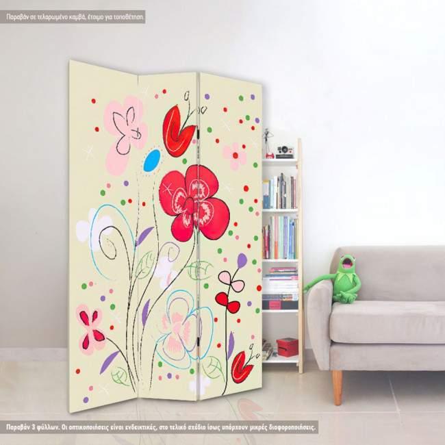 Flowers vector art, πτυσσόμενο διαχωριστικό (παραβάν)