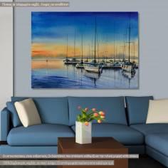 Πίνακας σε καμβά Λιμάνι, Yacht harbor at night
