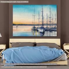 Πίνακας σε καμβά Λιμανάκι με ιστιοφόρα, Sailing boats in bay
