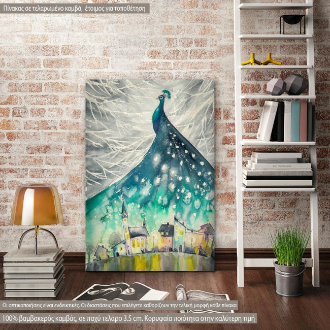 Canvas print Illustration of peacock as night sky over city