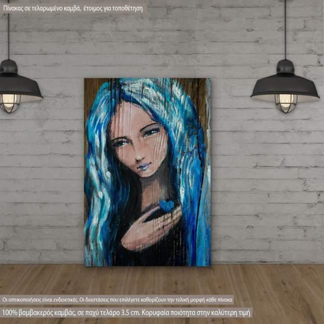 Πίνακας σε καμβά Woman with blue hair holding small heart