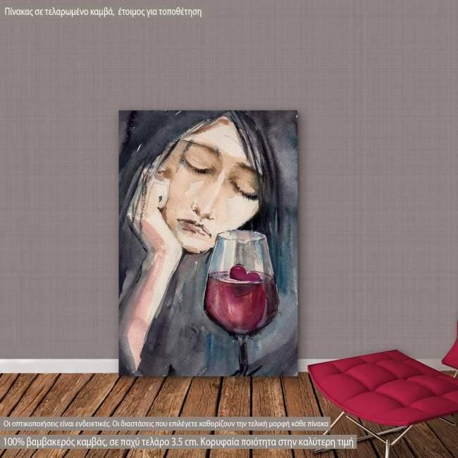 Πίνακας σε καμβά Sad woman with small red heart