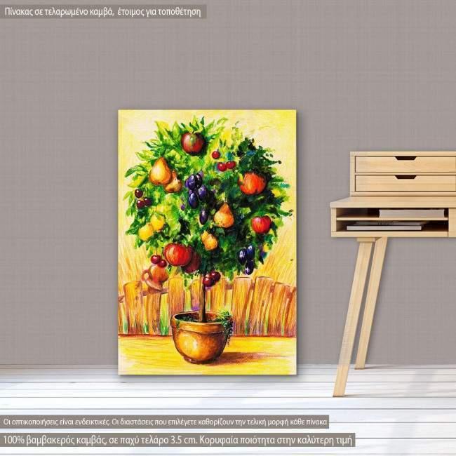 Πίνακας σε καμβά Δεντράκι, Tree with fruits