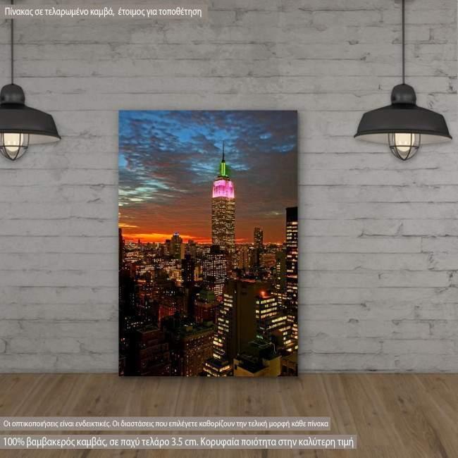 Πίνακας σε καμβά Νέα Υόρκη, New York City midtown skyline at dark