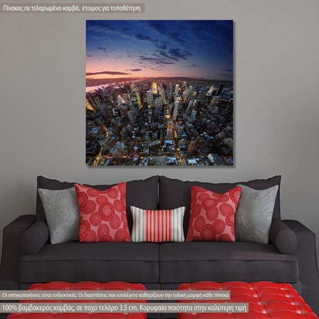 Πίνακας σε καμβά Νέα Υόρκη, Manhattan at sunset