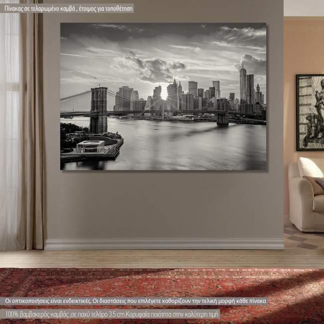 Πίνακας σε καμβά Νέα Υόρκη, Brooklyn bridge and the Manhattan skyline grayscale