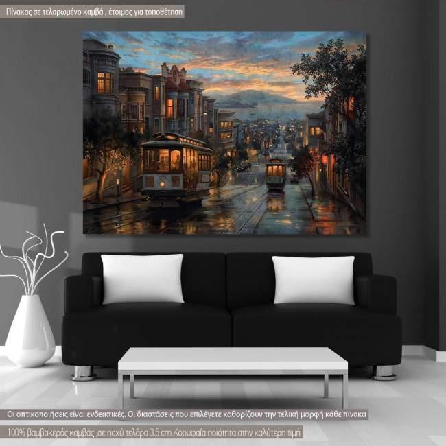 Πίνακας σε καμβά Σαν Φρανσίσκο, San Francisco cable cars