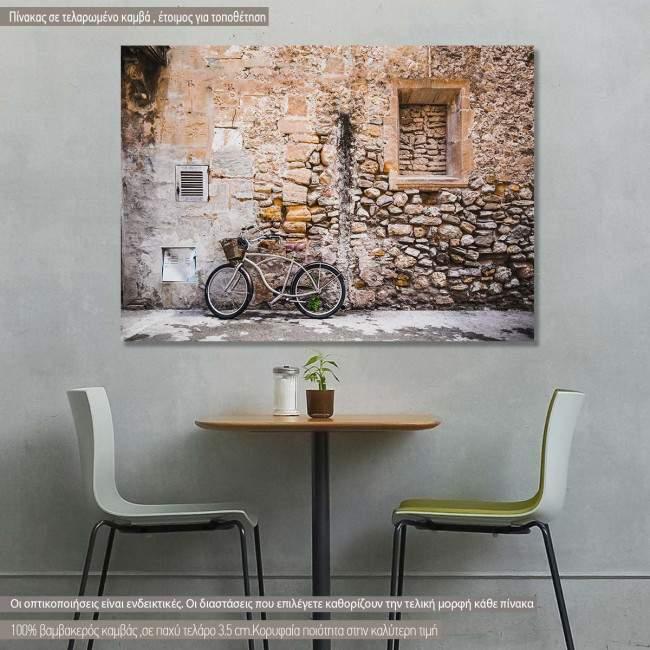 Πίνακας σε καμβά Ποδήλατο στον τοίχο