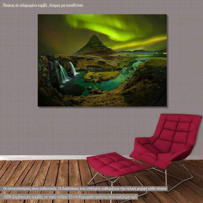 Πίνακας σε καμβά Βόρειο Σέλας, Aurora at Kirkjufell