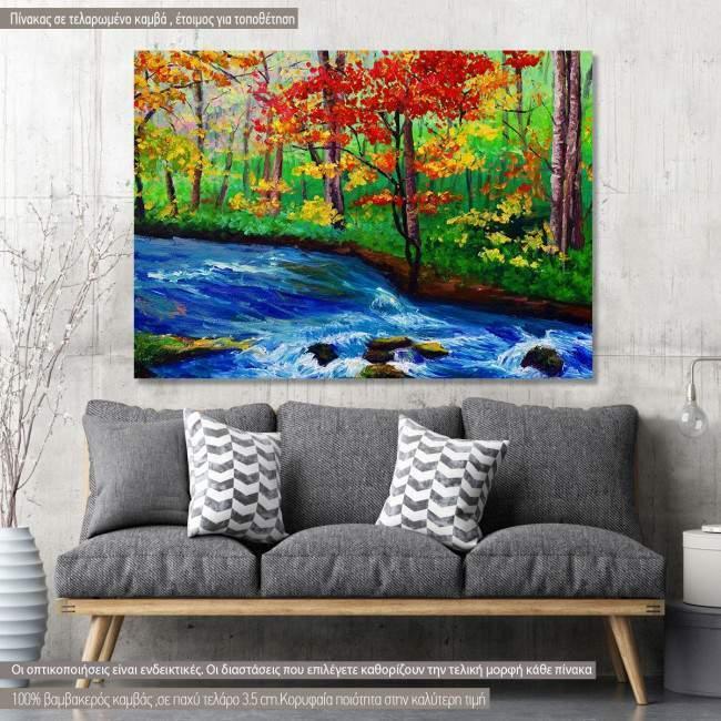 Πίνακας σε καμβά Δέντρα ρυάκι, Maple near stream