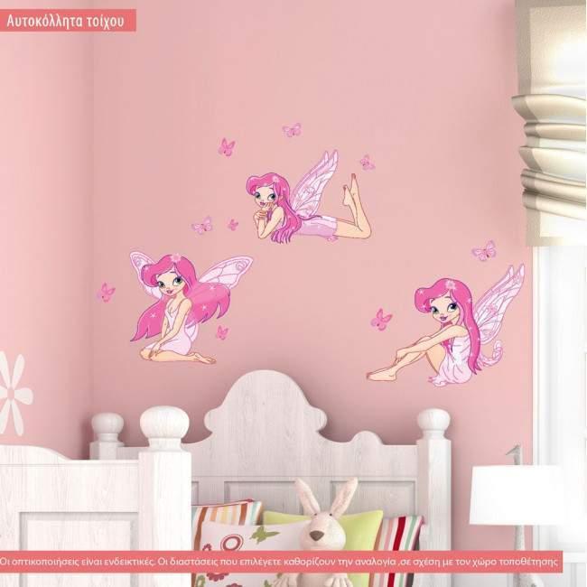 Αυτοκόλλητα τοίχου παιδικά Νεράιδες και πεταλούδες