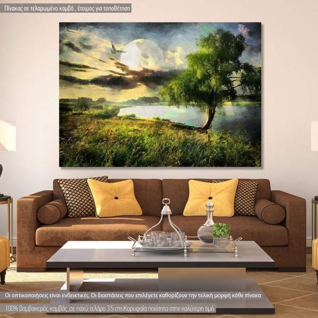 Πίνακας σε καμβά Ιτιά, Willow and moon painting