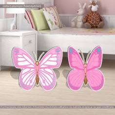 Πεταλούδες ροζ σετ 2 τμχ, ξύλινες φιγούρες εκτυπωμένες