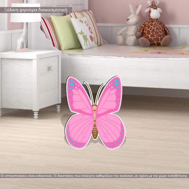 Πεταλούδα ροζ ξύλινη φιγούρα εκτυπωμένη