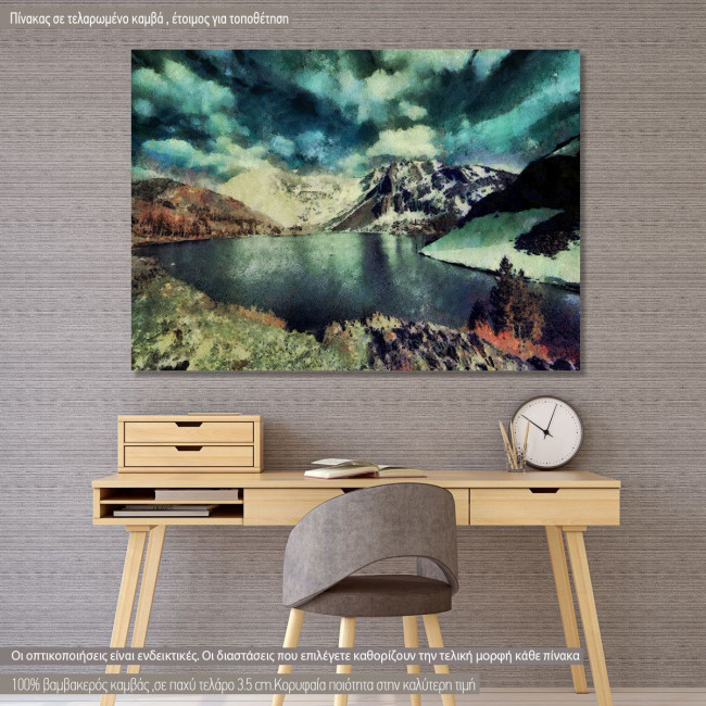 Πίνακας σε καμβά Λίμνη στο βουνό, Snow Mountain lake painting