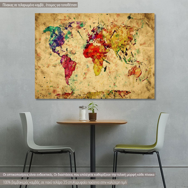 Πίνακας σε καμβά Colorfull world map