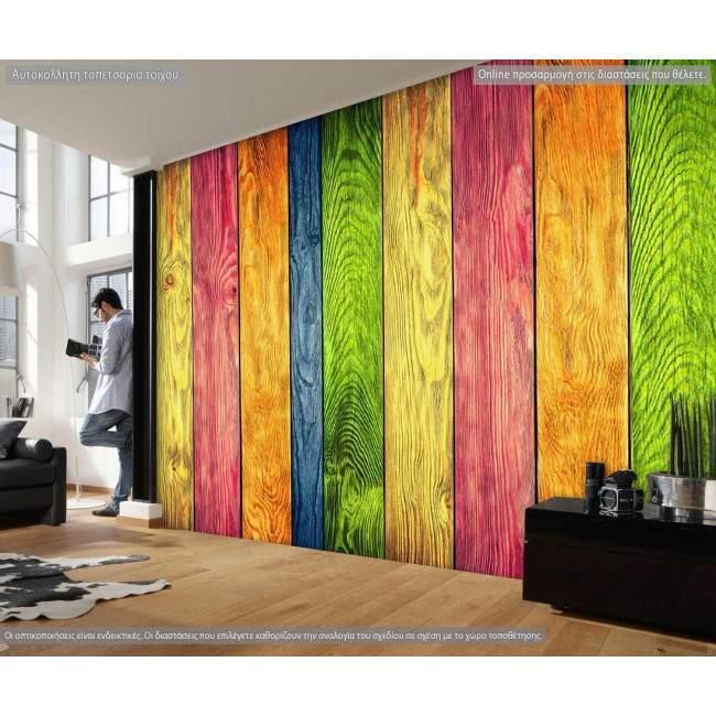 Ταπετσαρία τοίχου Πολύχρωμο ξύλο
