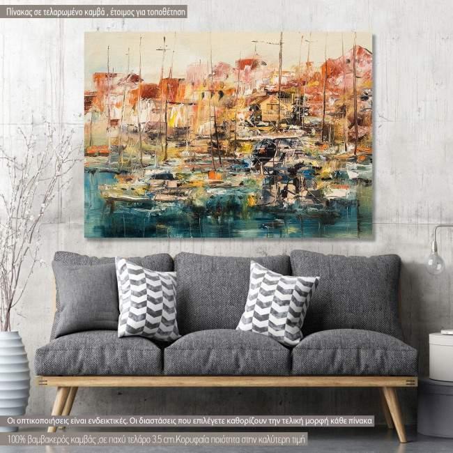 Boats at harbor πίνακας σε καμβά