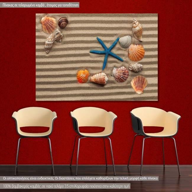 Πίνακας σε καμβά Sea shells with sand