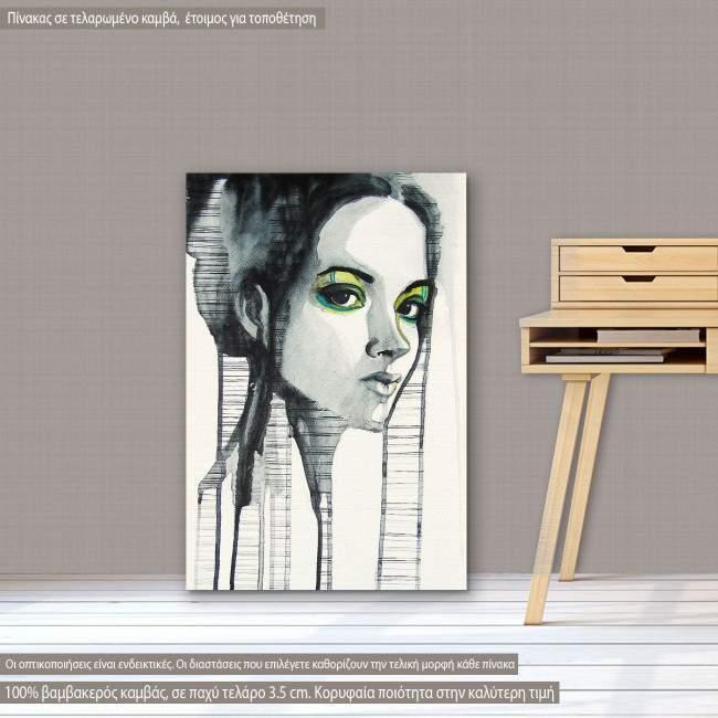 Πίνακας σε καμβά Watercolor girl I